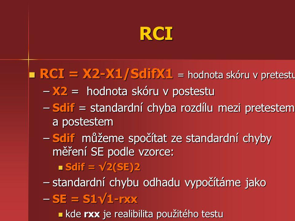 RCI RCI = X2-X1/SdifX1 = hodnota skóru v pretestu