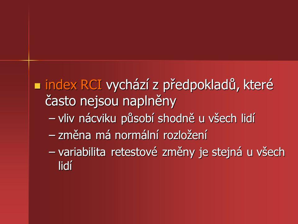 index RCI vychází z předpokladů, které často nejsou naplněny