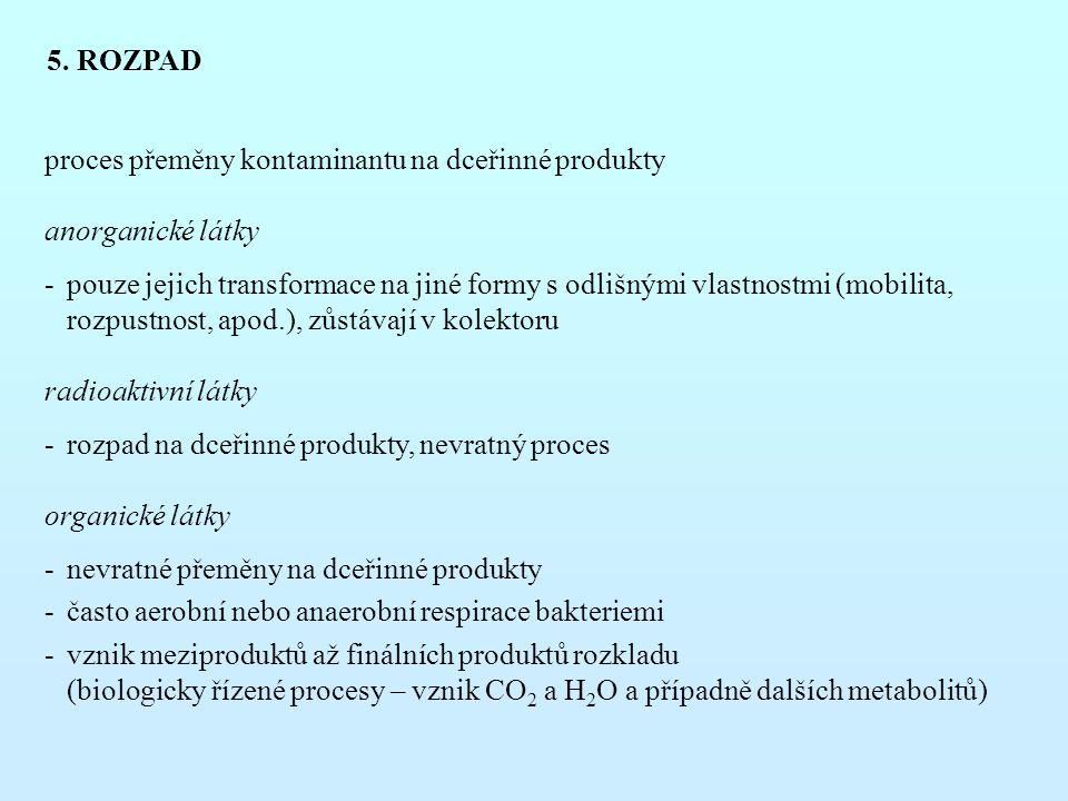 5. ROZPAD proces přeměny kontaminantu na dceřinné produkty. anorganické látky.