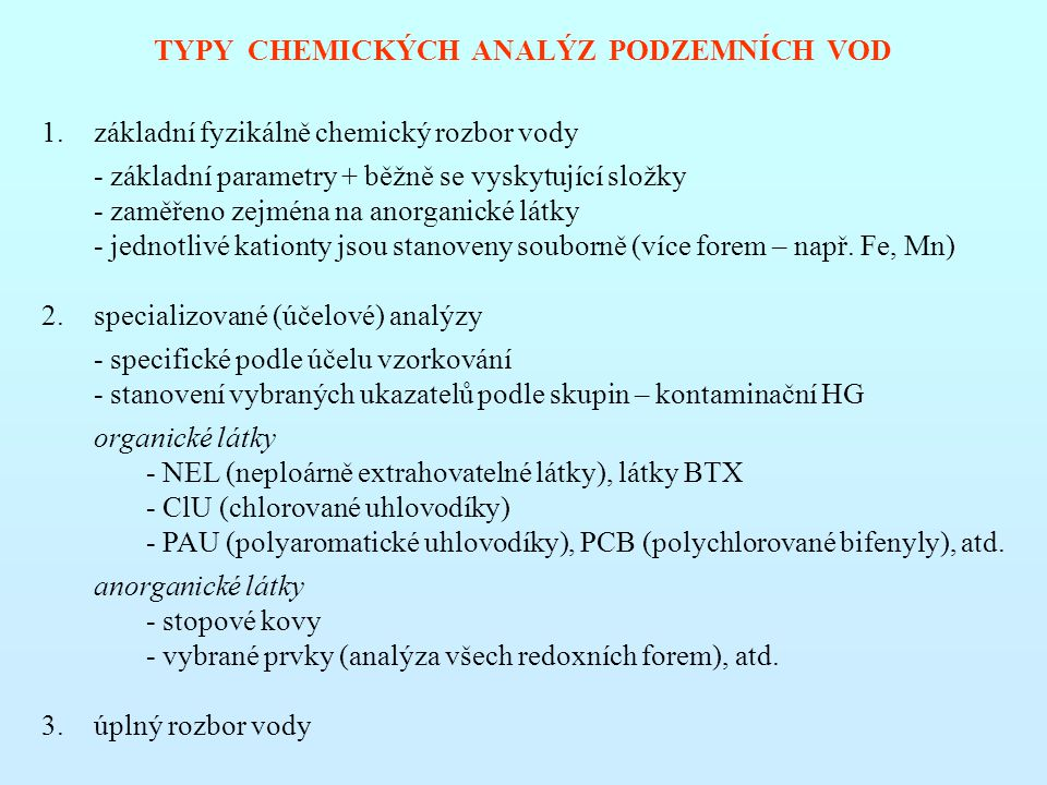 TYPY CHEMICKÝCH ANALÝZ PODZEMNÍCH VOD