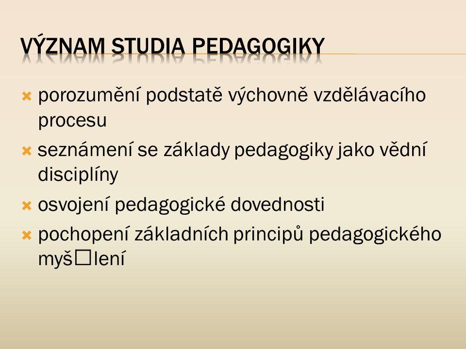 Význam studia pedagogiky