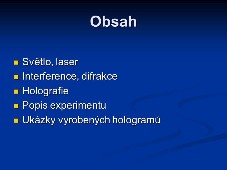 Obsah Světlo, laser Interference, difrakce Holografie