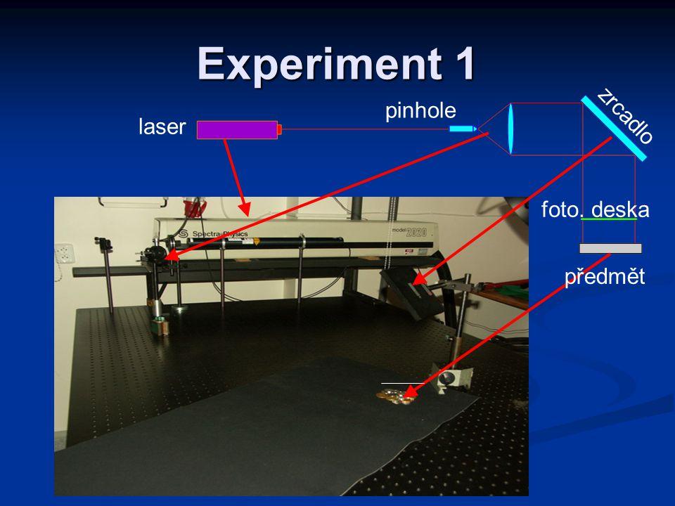 Experiment 1 pinhole laser zrcadlo foto. deska předmět