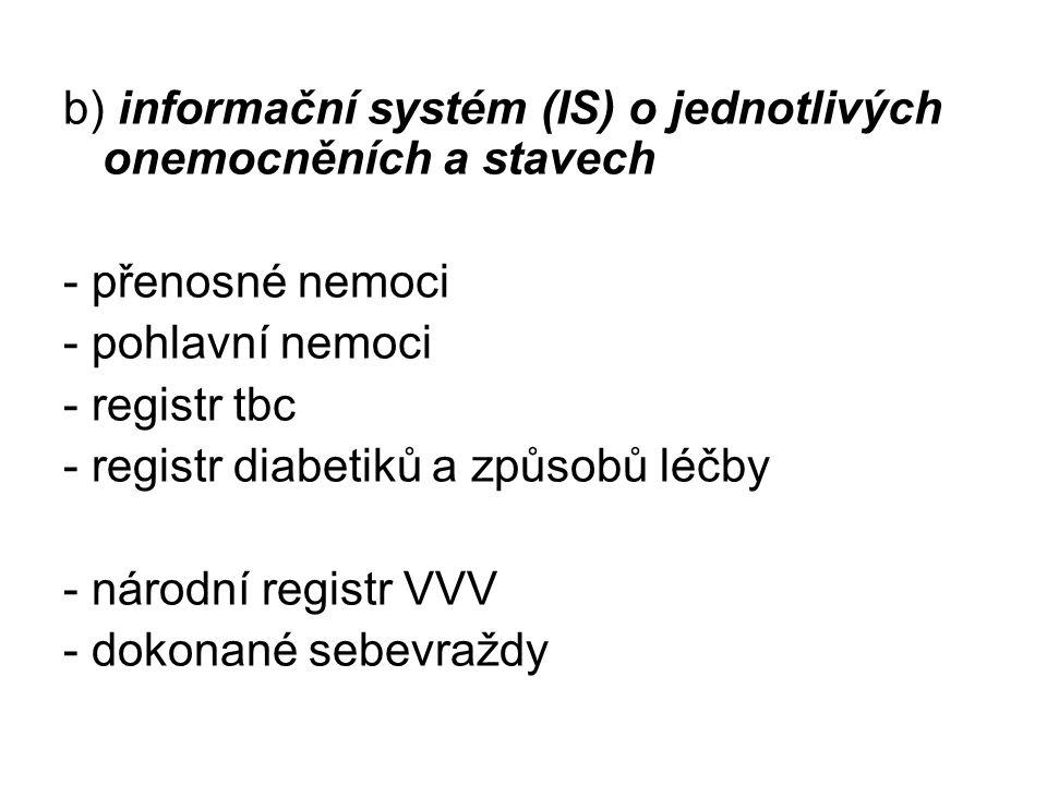 b) informační systém (IS) o jednotlivých onemocněních a stavech