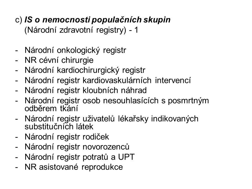 c) IS o nemocnosti populačních skupin