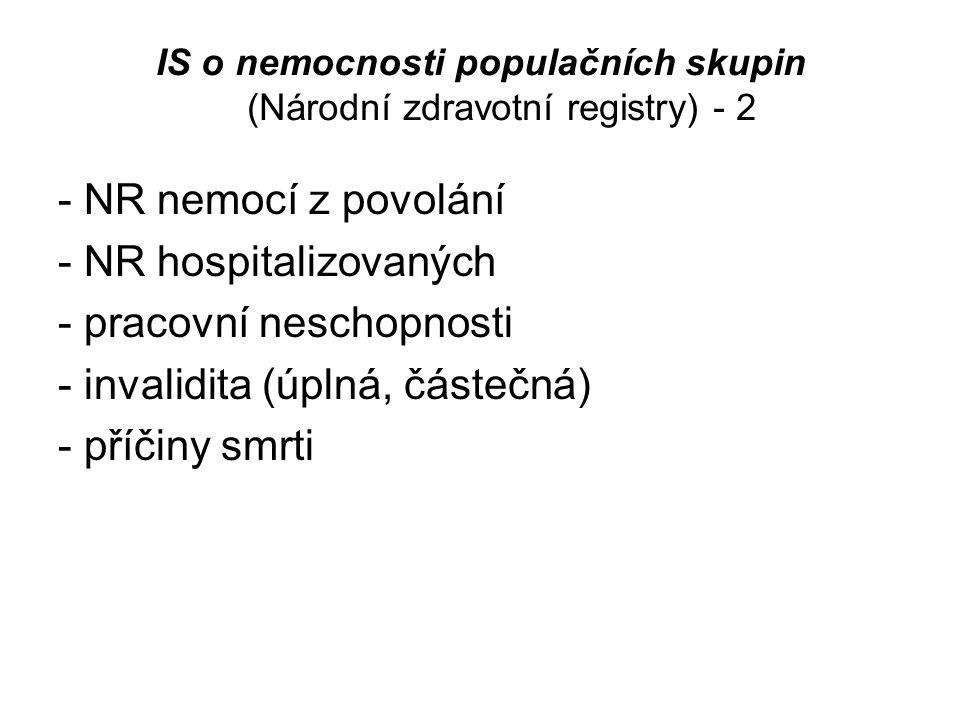 IS o nemocnosti populačních skupin (Národní zdravotní registry) - 2