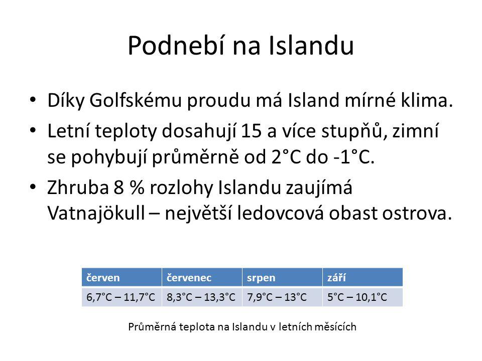 Podnebí na Islandu Díky Golfskému proudu má Island mírné klima.