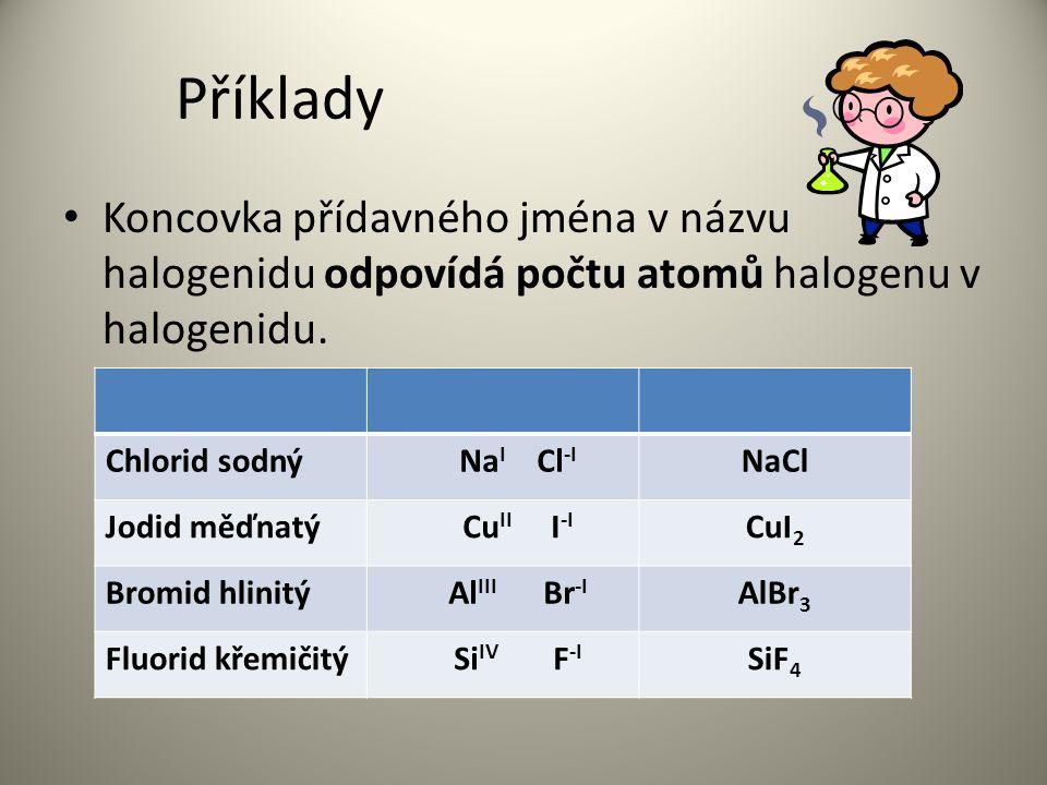 Příklady Koncovka přídavného jména v názvu halogenidu odpovídá počtu atomů halogenu v halogenidu. Chlorid sodný.