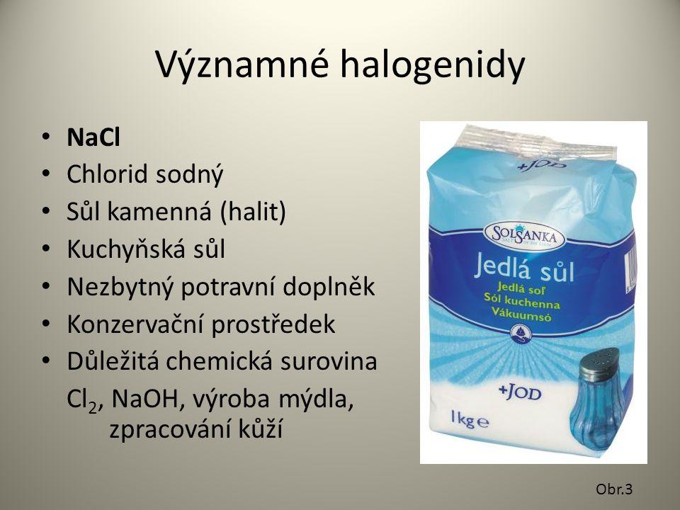 Významné halogenidy NaCl Chlorid sodný Sůl kamenná (halit)