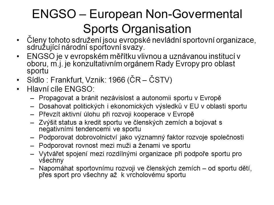 ENGSO – European Non-Govermental Sports Organisation