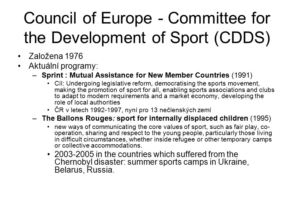Council of Europe - Committee for the Development of Sport (CDDS)
