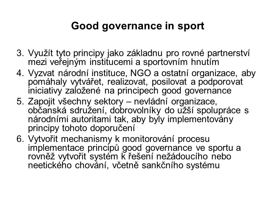 Good governance in sport