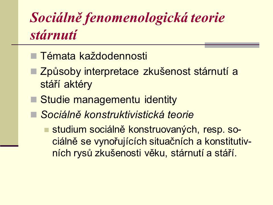 Sociálně fenomenologická teorie stárnutí
