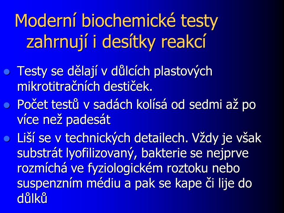 Moderní biochemické testy zahrnují i desítky reakcí