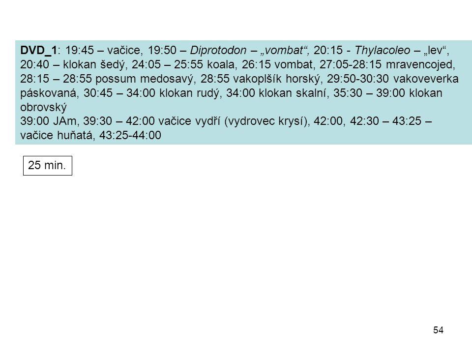 """DVD_1: 19:45 – vačice, 19:50 – Diprotodon – """"vombat , 20:15 - Thylacoleo – """"lev ,"""