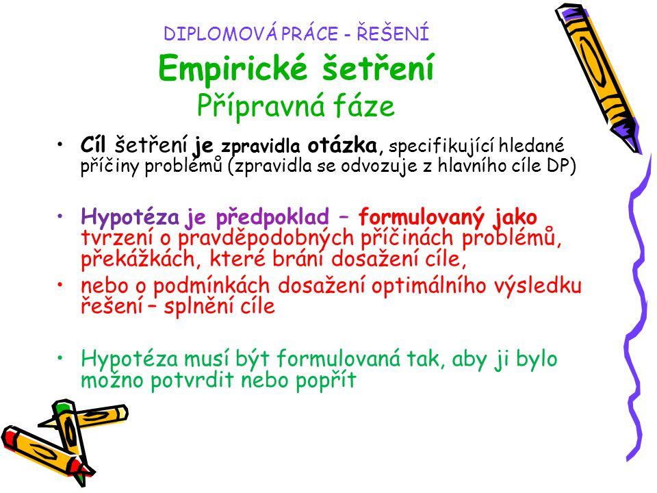 DIPLOMOVÁ PRÁCE - ŘEŠENÍ Empirické šetření Přípravná fáze