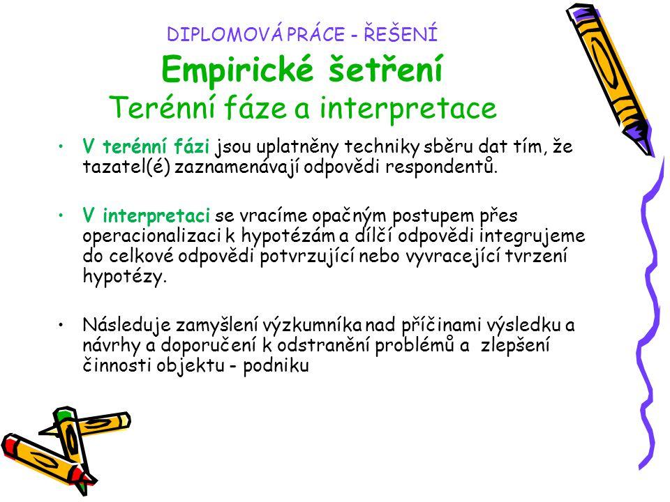 DIPLOMOVÁ PRÁCE - ŘEŠENÍ Empirické šetření Terénní fáze a interpretace