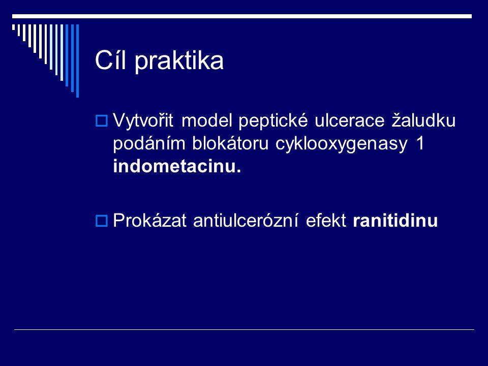 Cíl praktika Vytvořit model peptické ulcerace žaludku podáním blokátoru cyklooxygenasy 1 indometacinu.