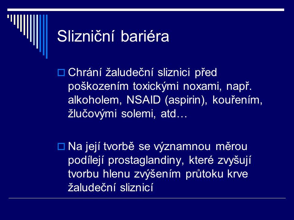 Slizniční bariéra Chrání žaludeční sliznici před poškozením toxickými noxami, např. alkoholem, NSAID (aspirin), kouřením, žlučovými solemi, atd…