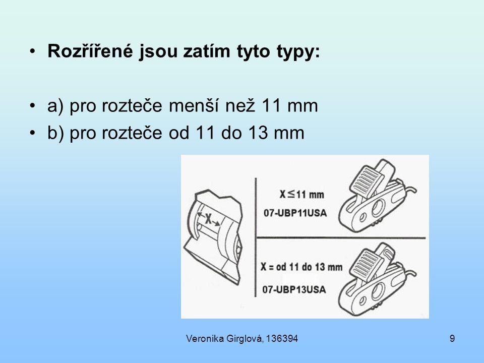 Rozřířené jsou zatím tyto typy: a) pro rozteče menší než 11 mm