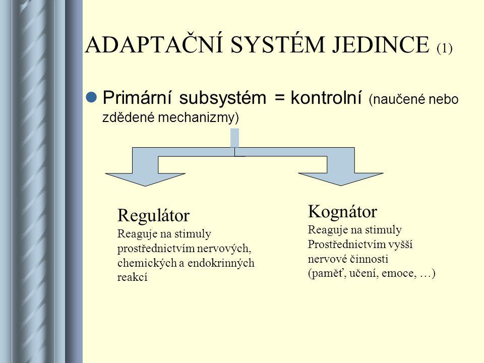 ADAPTAČNÍ SYSTÉM JEDINCE (1)