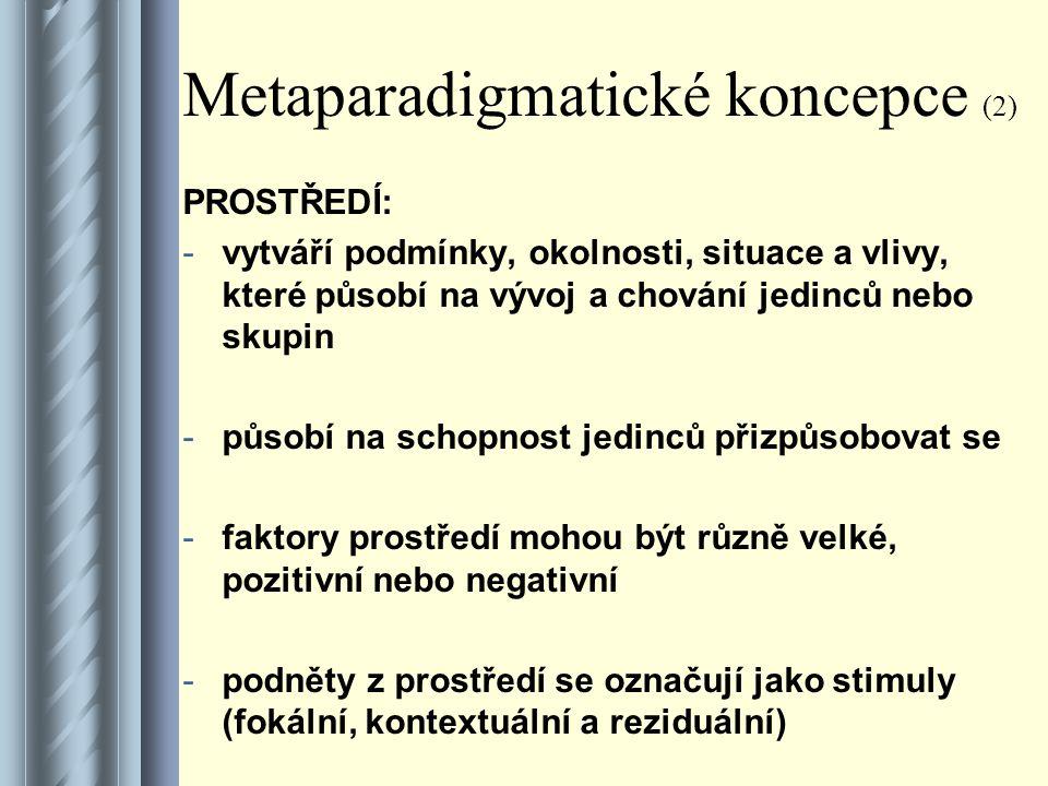 Metaparadigmatické koncepce (2)