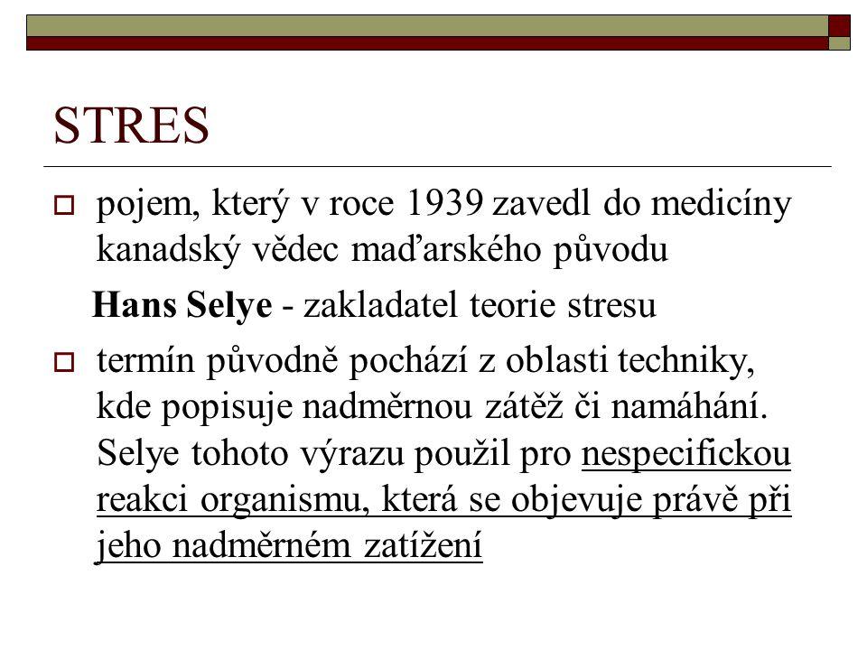 STRES pojem, který v roce 1939 zavedl do medicíny kanadský vědec maďarského původu. Hans Selye - zakladatel teorie stresu.