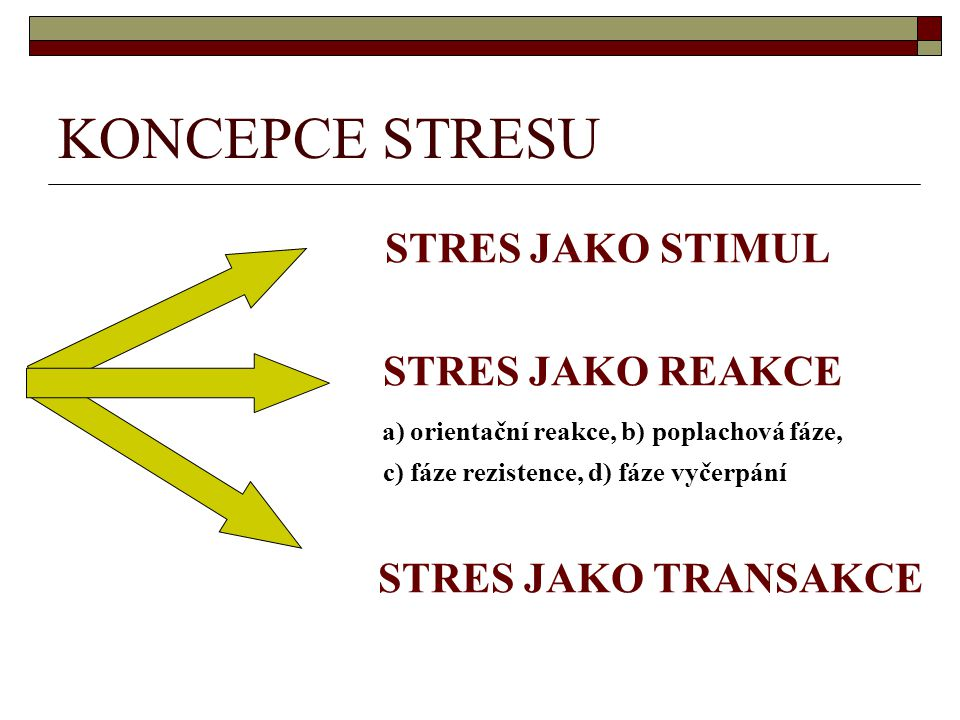 KONCEPCE STRESU STRES JAKO STIMUL STRES JAKO REAKCE