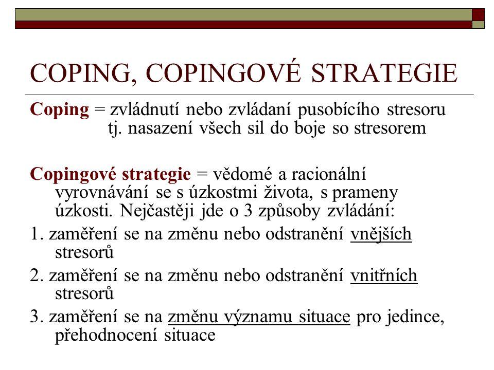 COPING, COPINGOVÉ STRATEGIE