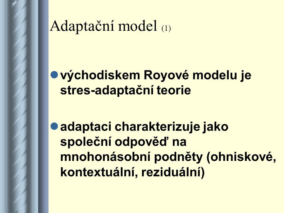 Adaptační model (1) východiskem Royové modelu je stres-adaptační teorie.