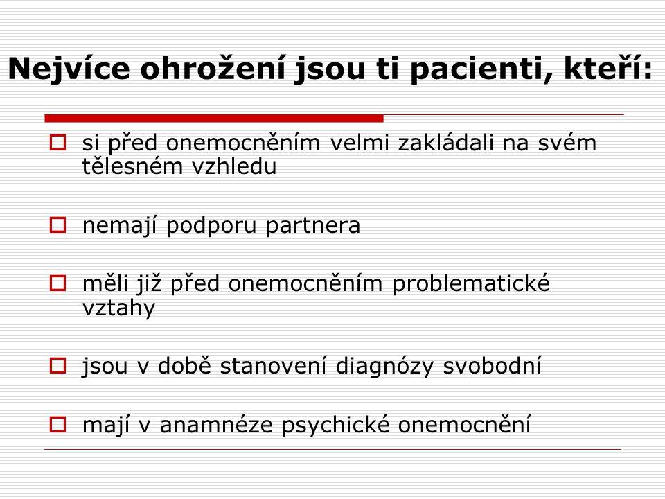 Nejvíce ohrožení jsou ti pacienti, kteří: