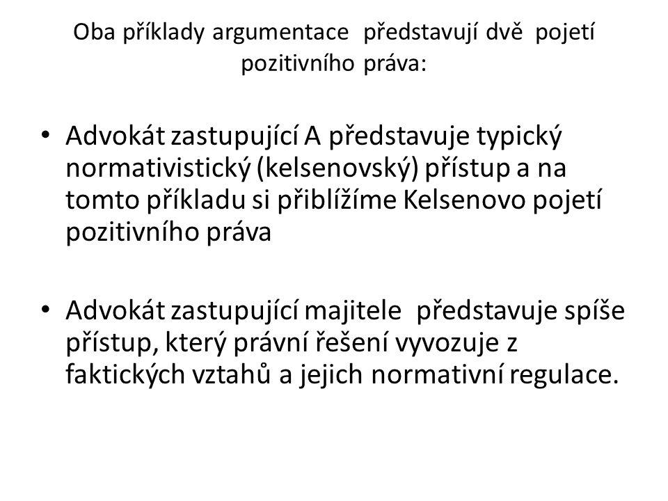 Oba příklady argumentace představují dvě pojetí pozitivního práva: