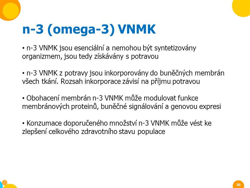 n-3 (omega-3) VNMK n-3 VNMK jsou esenciální a nemohou být syntetizovány organizmem, jsou tedy získávány s potravou.