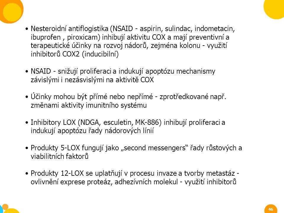 Nesteroidní antiflogistika (NSAID - aspirin, sulindac, indometacin, ibuprofen , piroxicam) inhibují aktivitu COX a mají preventivní a terapeutické účinky na rozvoj nádorů, zejména kolonu - využití inhibitorů COX2 (inducibilní)
