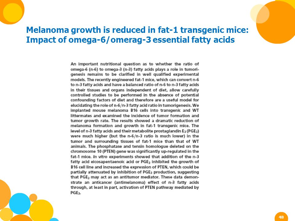 Melanoma growth is reduced in fat-1 transgenic mice: Impact of omega-6/omerag-3 essential fatty acids