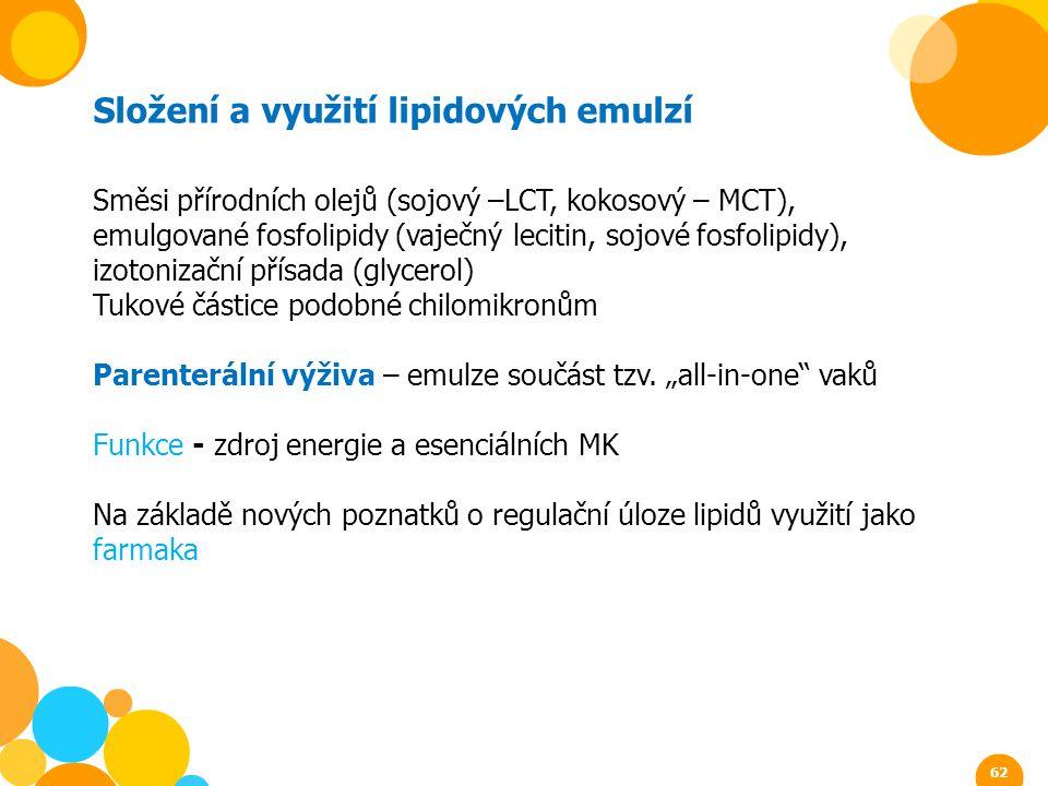 Složení a využití lipidových emulzí