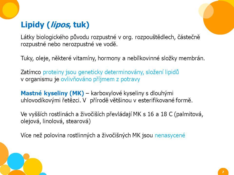 Lipidy (lipos, tuk) Látky biologického původu rozpustné v org. rozpouštědlech, částečně rozpustné nebo nerozpustné ve vodě.