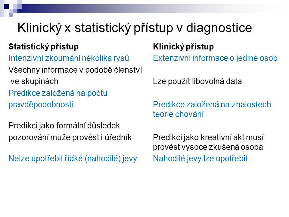 Klinický x statistický přístup v diagnostice
