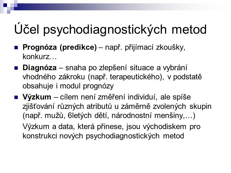 Účel psychodiagnostických metod