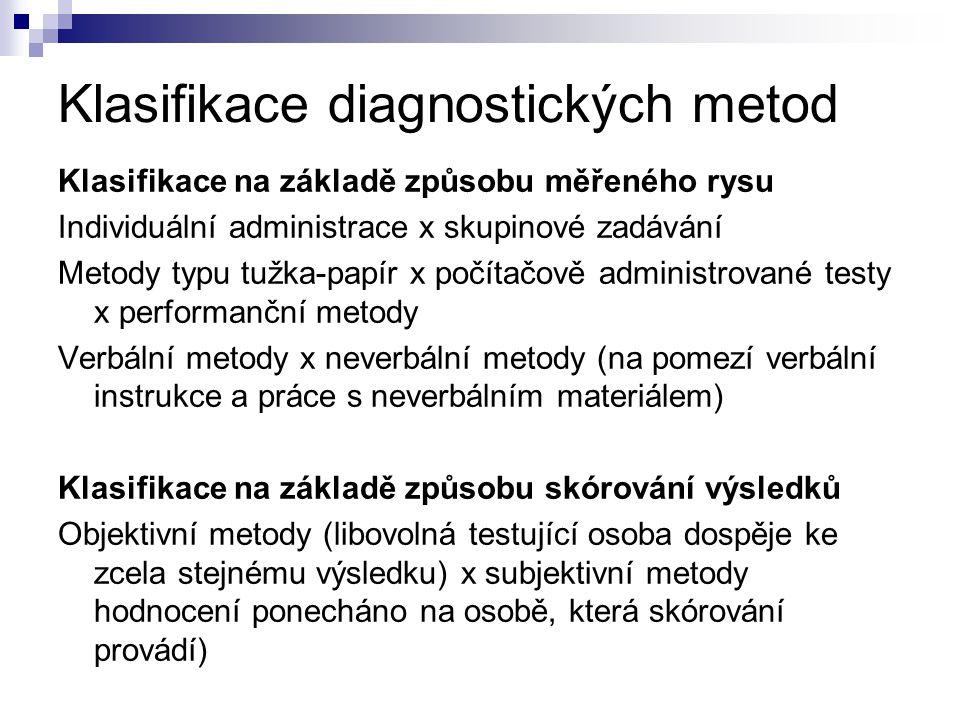 Klasifikace diagnostických metod