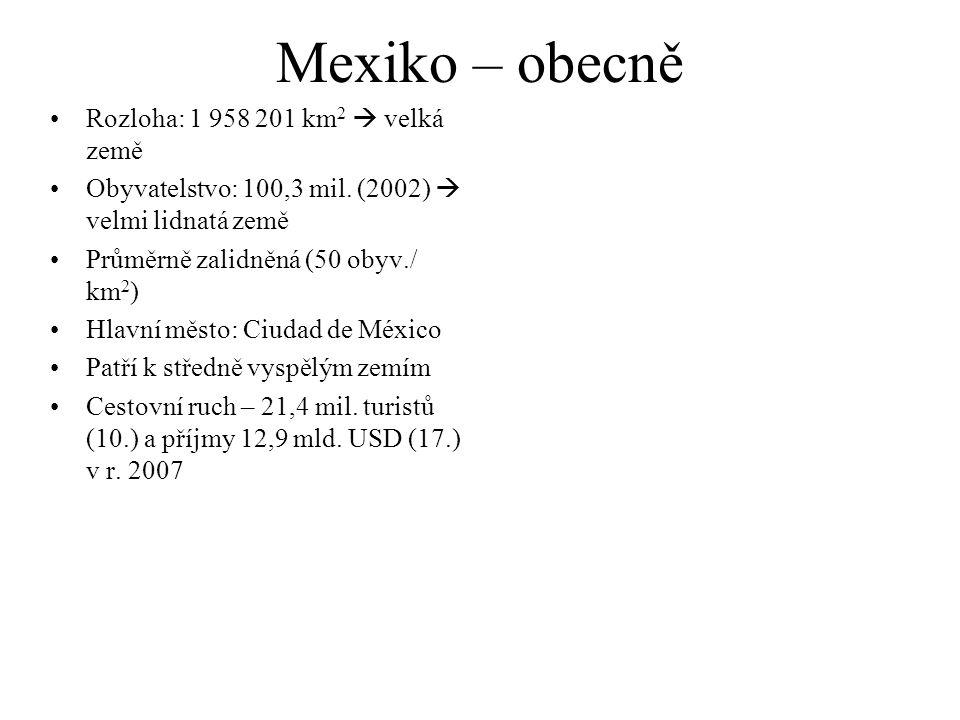 Mexiko – obecně Rozloha: 1 958 201 km2  velká země