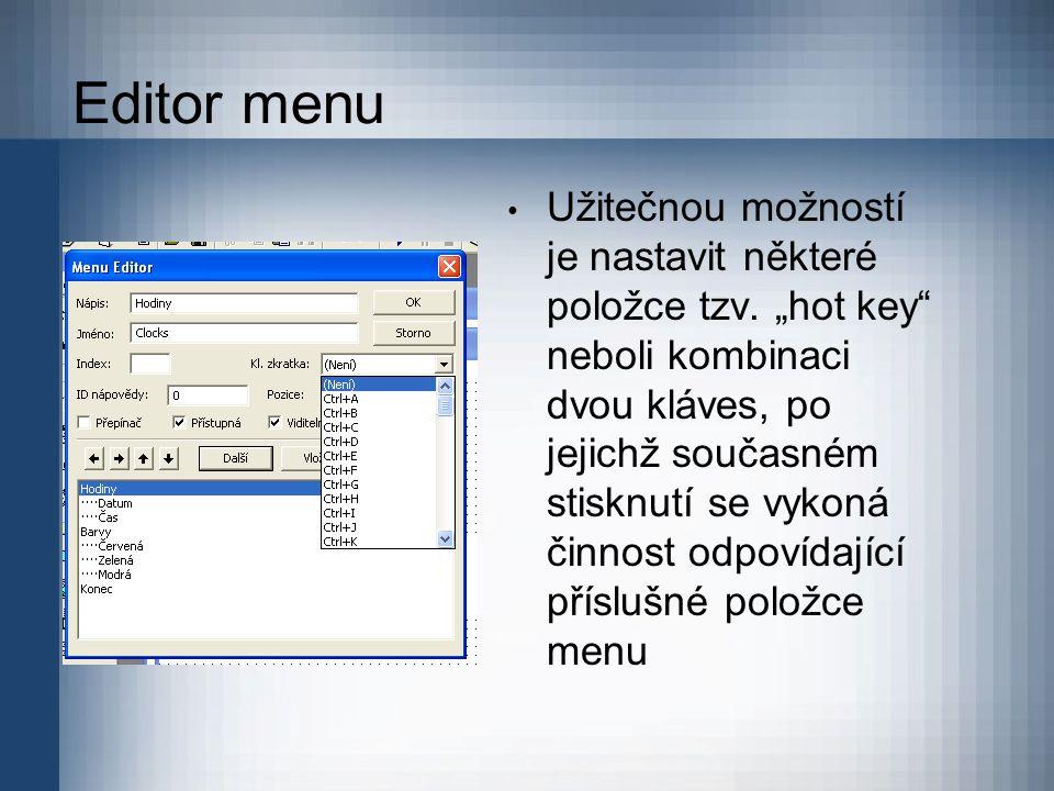Editor menu