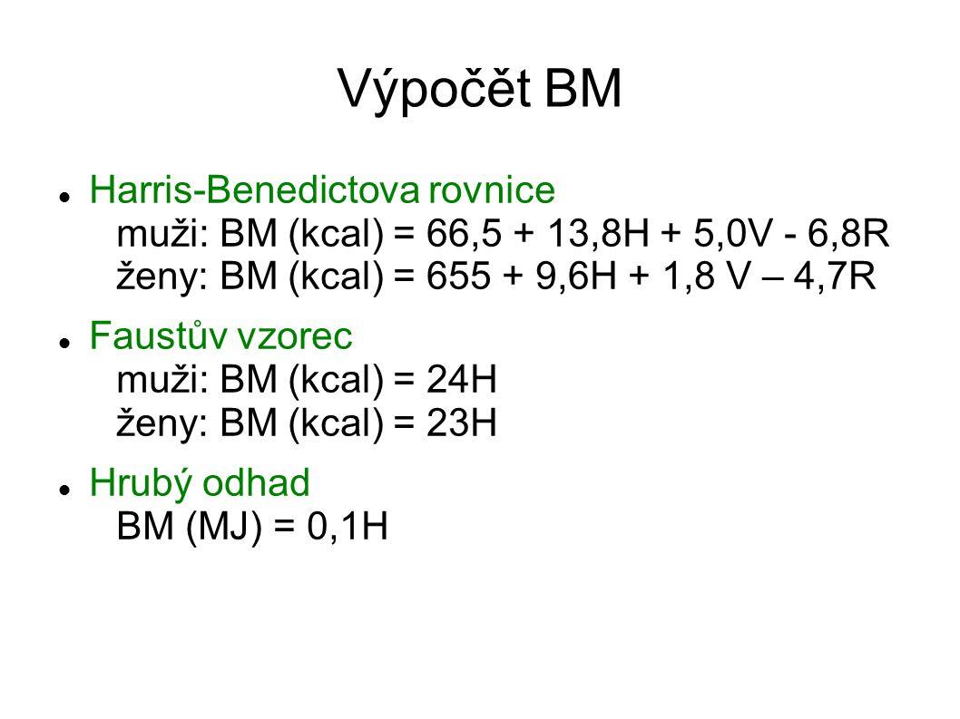 Výpočět BM Harris-Benedictova rovnice muži: BM (kcal) = 66,5 + 13,8H + 5,0V - 6,8R ženy: BM (kcal) = 655 + 9,6H + 1,8 V – 4,7R.