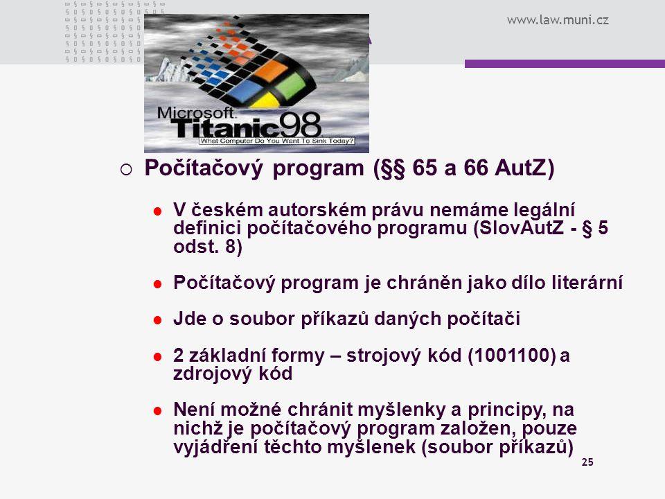 Počítačový program (§§ 65 a 66 AutZ)
