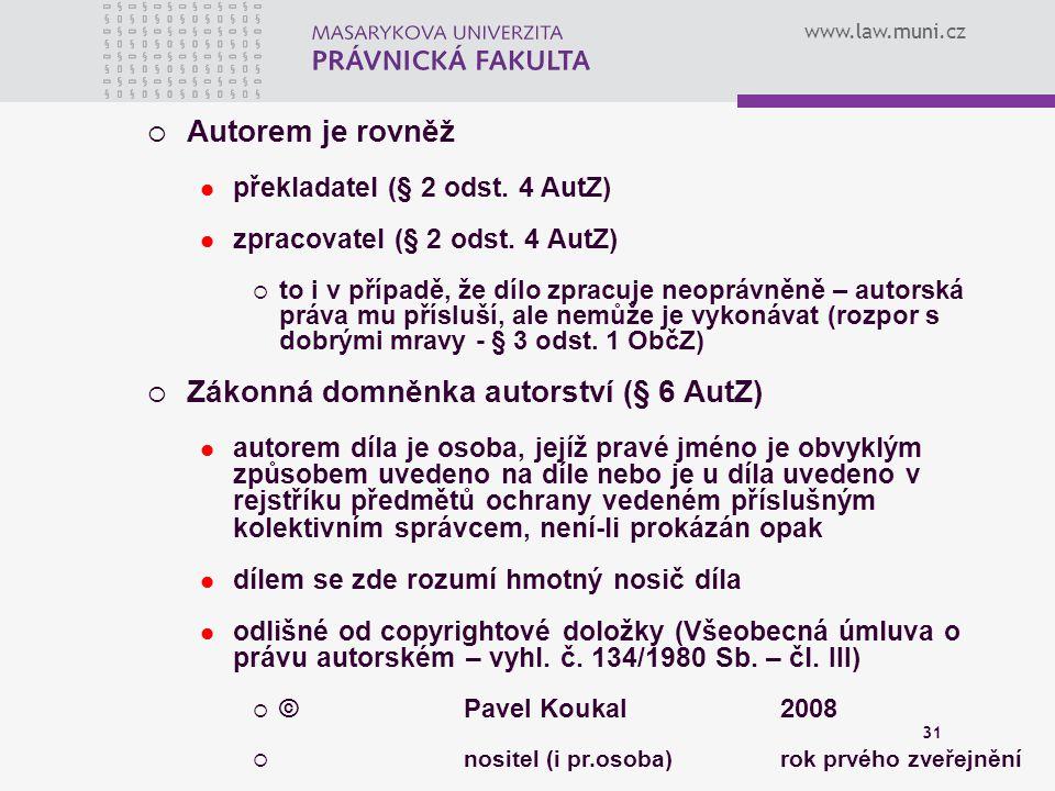 Zákonná domněnka autorství (§ 6 AutZ)