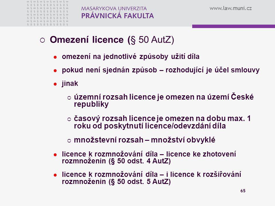 Omezení licence (§ 50 AutZ)