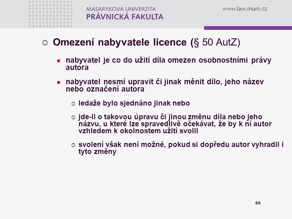 Omezení nabyvatele licence (§ 50 AutZ)