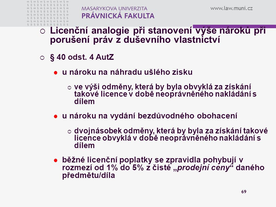 Licenční analogie při stanovení výše nároků při porušení práv z duševního vlastnictví