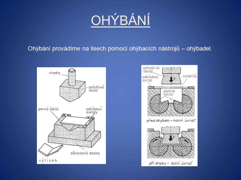 Ohýbání Ohýbání provádíme na lisech pomocí ohýbacích nástrojů – ohýbadel.