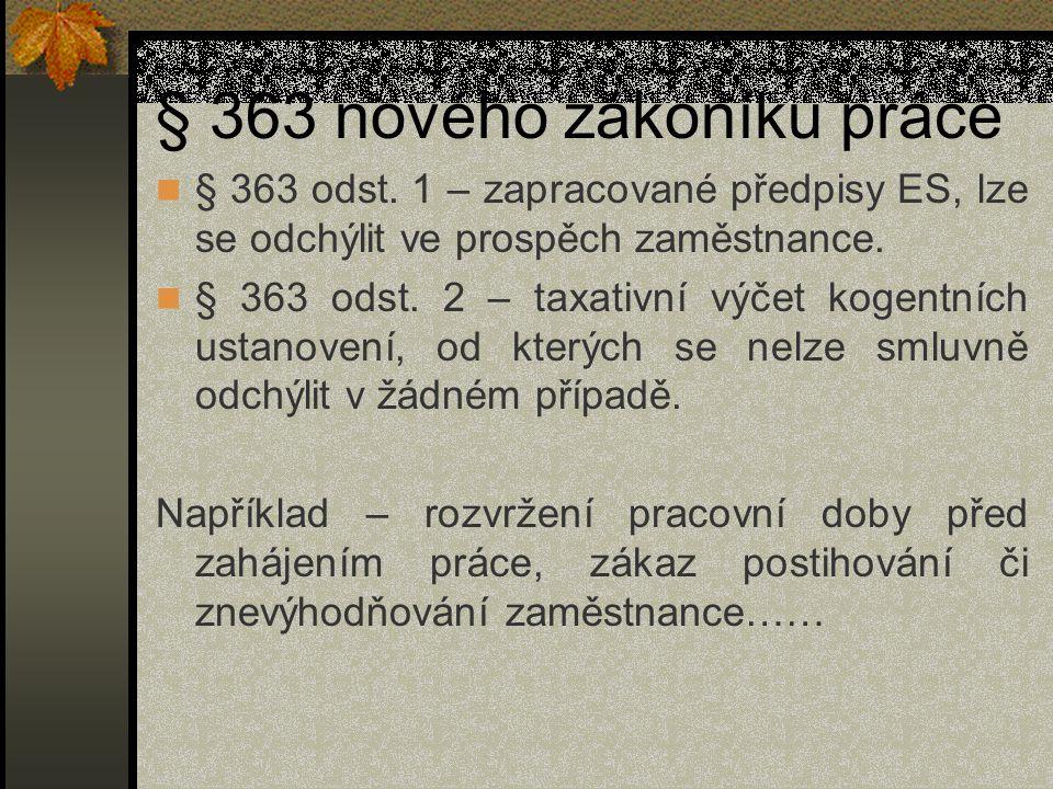 § 363 nového zákoníku práce